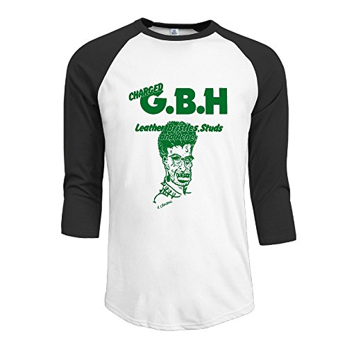 Charged GBH English Street Punk Band Mens 3/4 Sleeve Raglan Tops Shirt Cool T-shirts Men