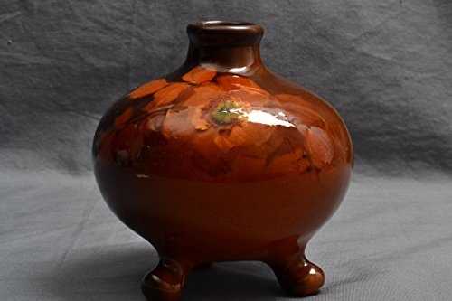 Weller Pottery Vase, 1896-1924 Louwelsa Orange Rose Tri-Foot Bowl ()