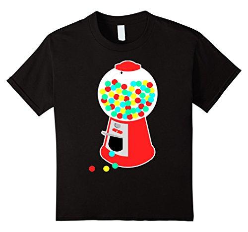 [Kids Gumball Machine T-Shirt Vending Machine Candy Chewing Gum 12 Black] (Gumball Machine Costume For Kids)