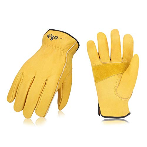 Vgo 3Pairs Unlined Cow Grain Leather Work and Driver Gloves with Cow Split Leather Palm Patch(Size M,Gold,CA9590)