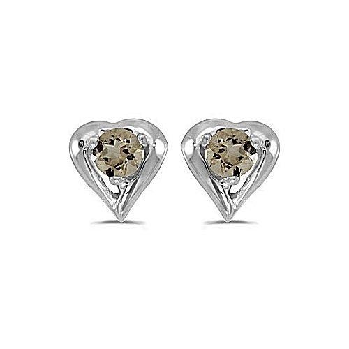 14kt White Gold Round Smokey Quartz Heart Shape Earrings - Heart Smokey Quartz Earring