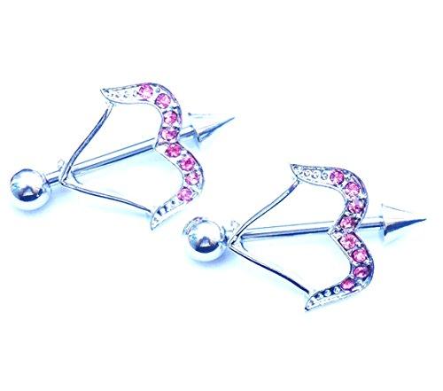 hyidealism pezón anillo bares rosa flecha cuerpo piercing joyas par 14G se vende como par