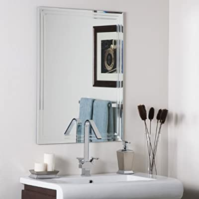 Decor Wonderland Frameless Tri-Bevel Wall Mirror - Crafted of thick, strong 3/16 glass and metal Double coated silver backing with seamed edges and bevel mirror Mounting hardware included, comes ready to hang vertically or horizontally - bathroom-mirrors, bathroom-accessories, bathroom - 41SemAFPzeL. SS400  -