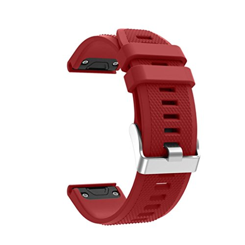 Price comparison product image Longay wristband Replacement Silicagel Quick Install Band Strap For Garmin Fenix 5 GPS Watch (Red)