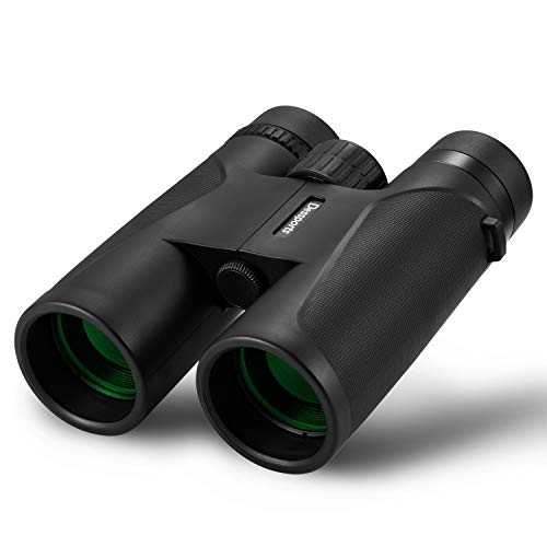 Dessports 12x42 Roof Prism Binoculars for Adults Compact HD Professional Telescope Waterproof Fogproof Low Light Night Vision Optics with BAK4 FMC Lens for Bird Watching Hunting Concerts