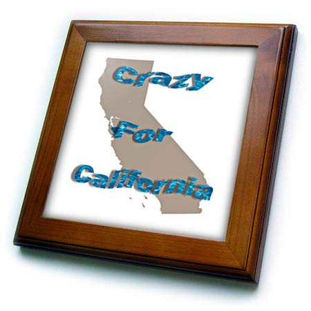 3dRose Lens Art by Florene - Crazy for Your State - Image of Ocean Wavy Words Crazy for California On State Outline - 8x8 Framed Tile (ft_318932_1) ()