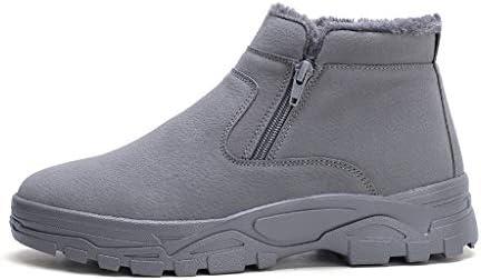 メンズ冬の雪のブーツは、サイドジッパーは、快適なハイトップスニーカープラスベルベットの耐摩耗性ノンスリップ黒、白スエード (色 : グレー, サイズ : 26.5 CM)