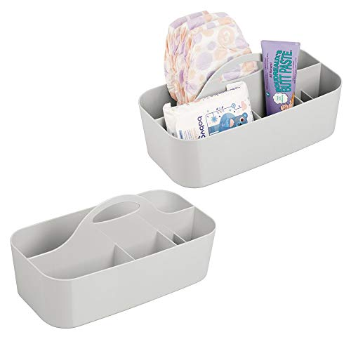 mDesign Plastic Nursery Storage Organizer Caddy Tote - Divided Basket Bin with Handle - Holds Bottles, Spoons, Bibs, Pacifiers, Diapers, Wipes, Baby Lotion - BPA Free - Large, 2 Pack - Light Gray