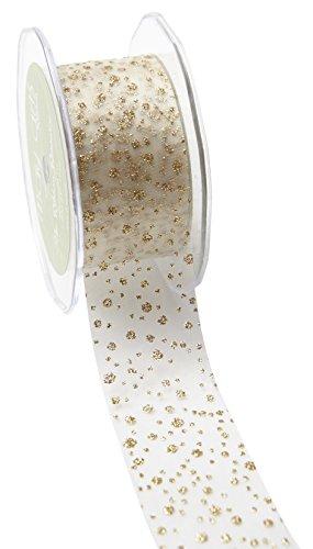 May Arts Ribbon 533-15-09 1.5'' Sheer Ribbon with Glitter Dots, 30 yd, Ivory Glitter Dots by May Arts Ribbon