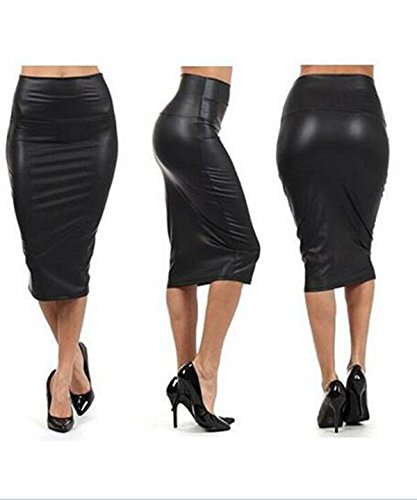 Taiduosheng Women's Black High Waist Slim Faux Leather Below Knee Pencil Skirt US L