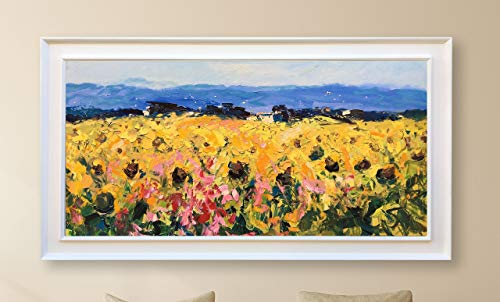 Sunflowers Field Wall Art Tuscan Landscape Painting Oil on Canvas Hand Painted Large Artwork Modern Picture for Living Room Home Decor Stretched ()