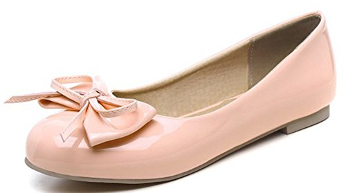 Sfnld Femmes Sweet Bowknot Bout Rond Chaussures Plates Rose
