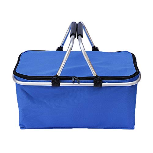Wandofo - Cesta de Picnic Plegable con Aislamiento térmico, con Cierre, Bolsa de Mano Impermeable, Azul