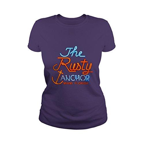 (Women's The Rusty Anchor Miami Florida T-Shirt (XL, Purple) )