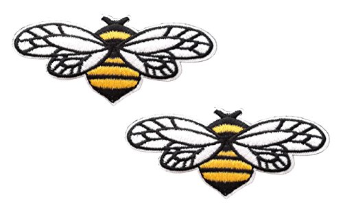 Bumble Bee Embroidered (2 pieces BUMBLEBEE Iron On Patch Applique Animal Insect Honey Bee Motif Fabric Decal 3.5 x 1.8 inches (8.8 x 4.5 cm))