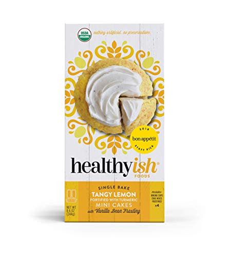 Healthyish, Organic Tangy Lemon Cake Mix with Vanilla Bean Frosting - Makes 4 Mini Cakes