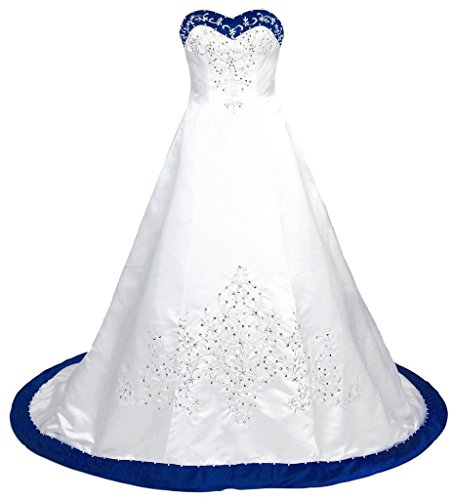 Snowskite Women's Sweetheart Embroidery Satin Beading Wedding Dress 16 White&Blue