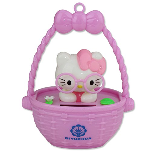 Cute Hello Kitty Wearing Pink Glasses in Pink Bascket Solar Toy Home Decor Gift