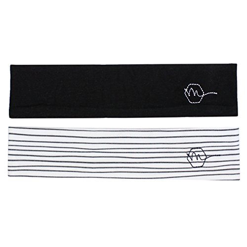 Women's Headband 2'' Wide Yoga Running Exercise Sports Workout Athletic Gym Wide Sweat Wicking Stretchy No Slip 2 Pack Set Black White Stripe ''ONYX'' by Maven Thread