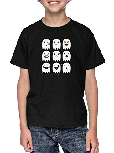 Halloween Icon Text (Halloween Ghost Icons - Boo Phone Text Youth T-Shirt (Black,)