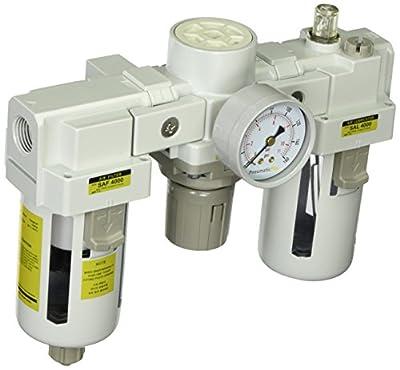 "PneumaticPlus SAU4000M-N04G Three-Unit Combo Compressed Air Filter Regulator Lubricator FRL, Air Preparation Unit 1/2"" NPT - Manual Drain, Poly Bowl, 10 Micron with Gauge"