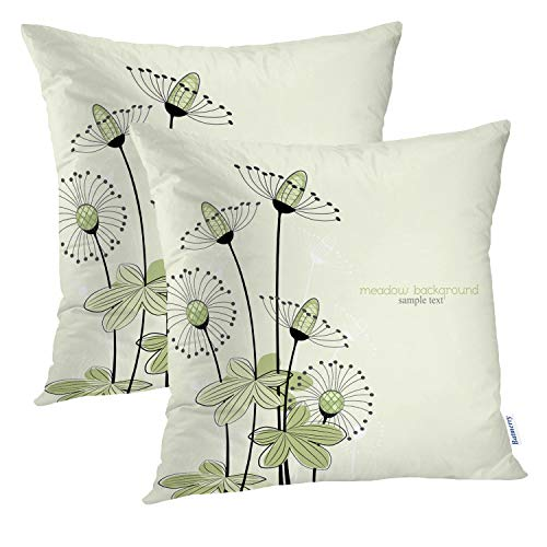 Batmerry Floral Pillow Covers 18x18 Inch Set of 2, Floral Vector Design inGreen andWhite Double Sided Square Pillow Cases Pillowcase Sofa Cushion