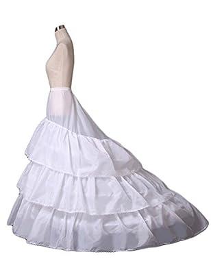 Women's A-line 3-Hoop Petticoat Underskirt Crinoline for Wedding Dress Train 9007