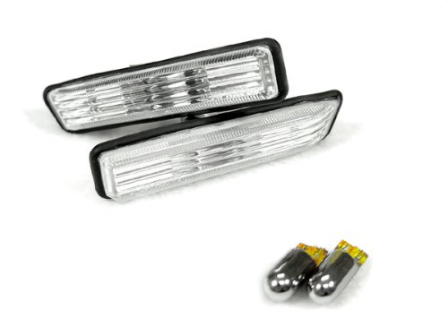 DEPO 00-06 BMW E53 X5 & 97-99 BMW E36 CRYSTAL CLEAR FENDER SIDE MARKER LIGHTS + Chrome Bulbs
