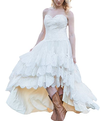 Tulle Wedding Dress High Low Lace Bridal Dresses Corset Plus Size Bride Gowns Sweetheart Tiers US 2 White