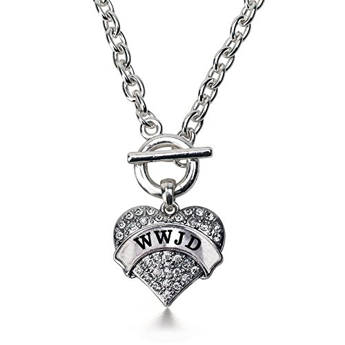 Necklace Inspired Heart Silver (Inspired Silver What Would Jesus Do WWJD Pave Heart Toggle Necklace Clear Crystal Rhinestones)