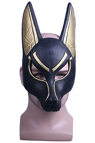 Newhui Anubis PVC Cosplay Full Face Mask Wolf Head Jackal Headgear Animal Masquerade -