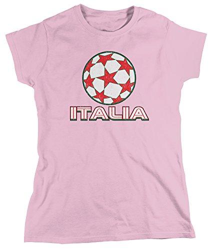 (Amdesco Women's Italia Soccer, Italy Football, Italian T-Shirt, Light Pink Large)