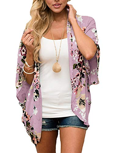 BB&KK Kimonos for Women Summer Cardigans Casual Floral Chiffon Kimonos Plus Size X-Large (Purple, XL)