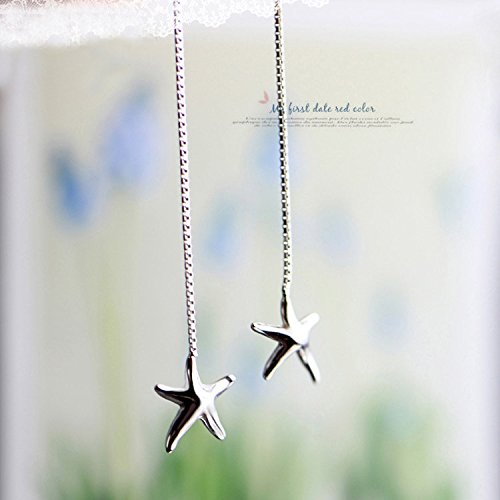 usongs 925 sterling silver starfish ear wire earrings long paragraph tassel earrings star fashion personality silver jewelry send his girlfriend arts