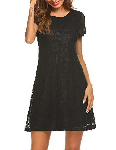 Funpor Women's A Line Short Sleeve Elegant Lace Floral Cocktail Party Mini Dress
