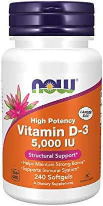 NOW Foods Supplements, Vitamin D-3 5,000 IU, High Potency, Structural Support, 240 Softgels