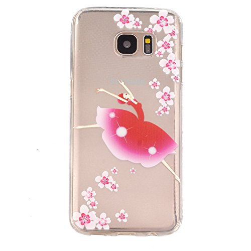 Flat Ballerina Card (Gravydeals® S7 Edge Transparent Soft Case,Ultra Thin [Slim Fit] Lovely Relief Ballerina Print Clear TPU Protective Case Cover Skin for Samsung Galaxy S7 Edge)