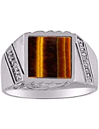 Designer Ring With Diamonds and Onyx or Tiger Eye Set in Sterling Silver .925