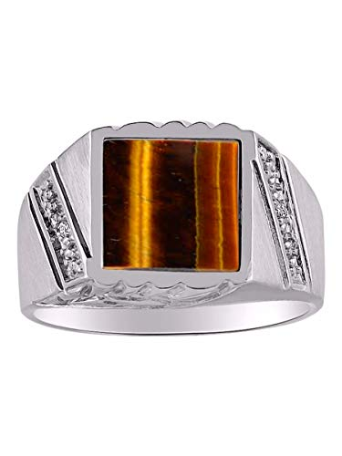 (RYLOS Designer Ring With Diamonds and Genuine Tiger Eye Set in Sterling Silver Silver .925)