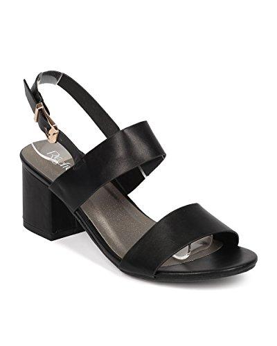 Women Leatherette Low Chunky Heel Sandal - Open Toe Instep Strap Ankle Cuff - HA43 by Alrisco - Black Leatherette (Size: (Girls Black Hazel Shoes)