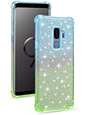 Miagon Soft Glitter Case for Samsung Galaxy S9,Slim Shockproof 2 in 1 Flexible Silicone Bumper Protective Phone Sparkly Case Cover Girls Women,Blue Green