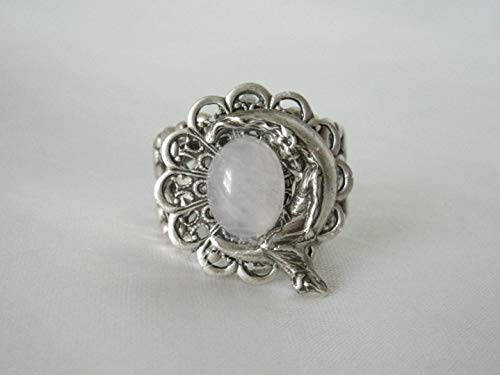 Goddess On Crescent Moon Ring, handmade jewelry rose quartz wiccan pagan wicca witch witchcraft ()