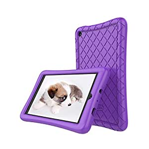 Amazon Fire 7 Tablet Case (7th Generation, 2017 Release Only) - Slim Silicone Light Weight Cover, Anti Slip Shockproof Kids Friendly Protective Case for Kindle Fire 7 Tablet, Purple