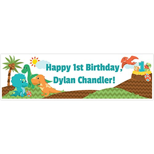 Moxzie Little Dinosaur 1st Birthday 5 Ft. Large Personalized Banner