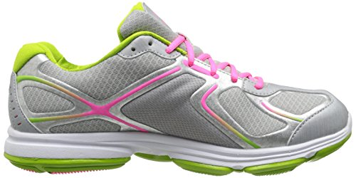 Ryka Womens Devotion Walking Shoe Argento Cromato / Lime Fiammata / Rosa Atomico