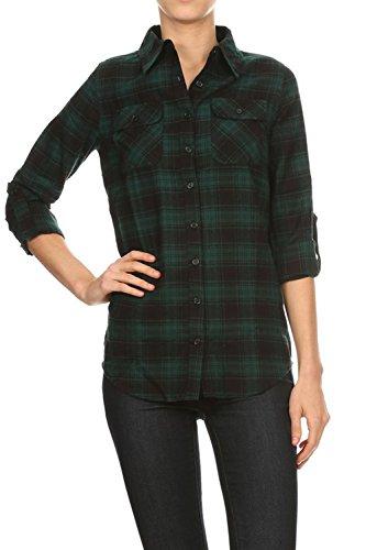 [Women's Long Sleeve Flannel Plaid Checkered Button Down Shirt Medium Green/Black] (Green Plaid Flannel Shirt)
