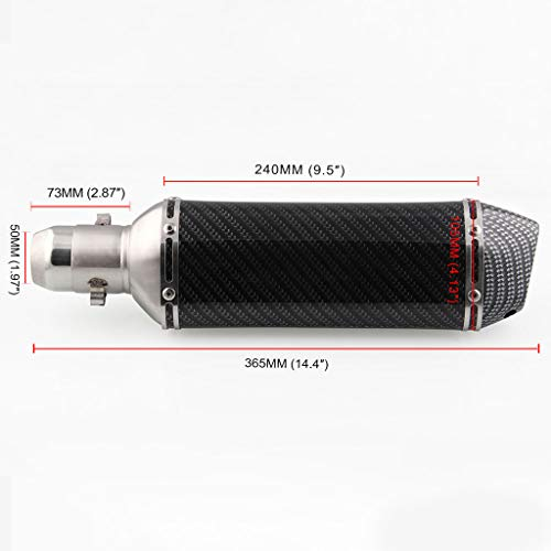 - Shmei Exhaust Tailpipe Muffler High Toughness Motorcycle Modified Exhaust Pipe Tail Throat Carbon Fiber Silencer No Deformation for Motorcycle Pipe Diameter 38mm-51mm Stainless Steel Material