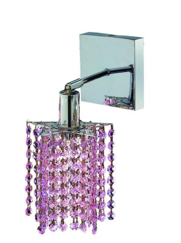 Elegant Lighting 1281W-S-P-RO/RC Mini 8-Inch High 1-Light Wall Sconce, Chrome Finish with Rosaline (Pink) Royal Cut RC Crystal