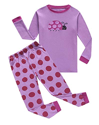 Family Feeling Ladybug Big Girls Long Sleeve Pajamas Sets 100% Cotton Sleepwears Kids Pjs Size 8