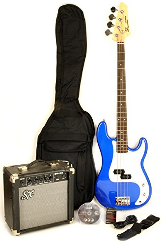 Ursa 1 RN PK EB Full Size Electric Bass Guitar Package Blue w/BA1565 Amp, Carry Bag & Video Instruction